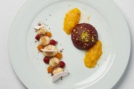 DEZERT: Mousse zbílé čokolády a mascarpone, dva druhy ovocného pyré, hlína ztmavé čokolády, meringue / Pistáciový dortík potažený višňovým želé, mango chutney, ořechový prach